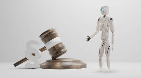 paragraph with judge gavel and artificial intelligence robot white 3d-illustration Foto de archivo - 129779945