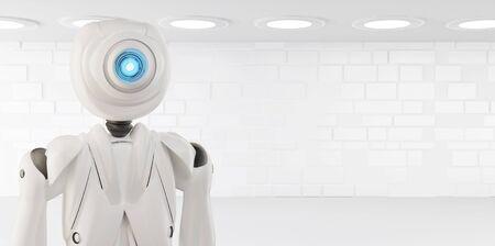 artificial intelligence robot white 3d-illustration Foto de archivo - 129779966