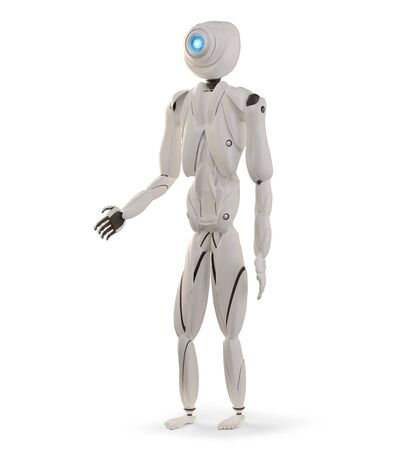 standing artificial intelligence robot white 3d-illustration Foto de archivo - 129779967