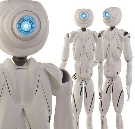 artificial intelligence robot white 3d-illustration Foto de archivo - 129779969
