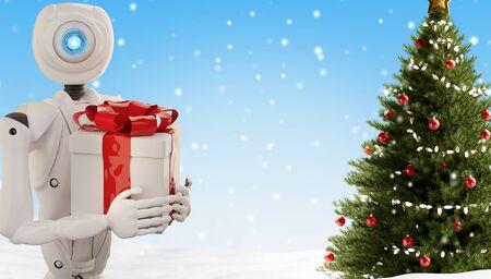 autonomous robot and Christmas present 3d-illustration Foto de archivo - 129779994