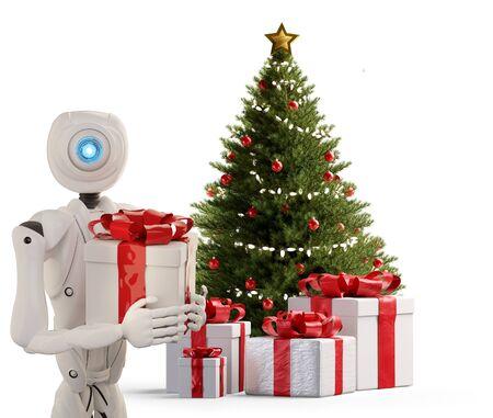 autonomous robot and Christmas present 3d-illustration Foto de archivo - 129779996