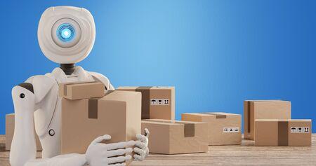 autonomous robot delivers packages 3d-illustration Foto de archivo - 129780017