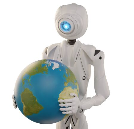 robot holding the planet earth globe 3d-illustration.