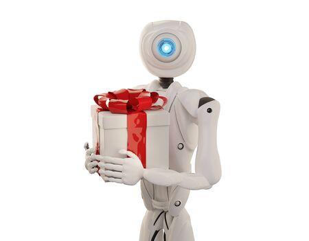 autonomous robot with red and white present 3d-illustration Foto de archivo - 129780023