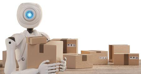 autonomous robot delivers packages 3d-illustration Foto de archivo - 129780026