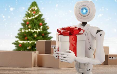 autonomous robot delivers a Christmas present 3d-illustration Foto de archivo - 129780047