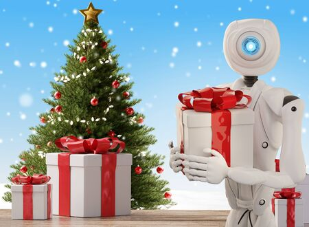 autonomous robot delivers a Christmas present 3d-illustration Foto de archivo - 129780048