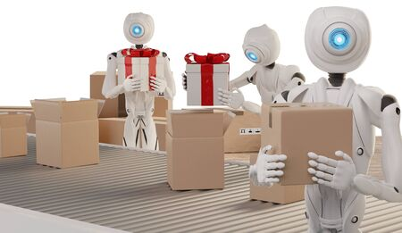 Christmas presents logistics pack gifts ready to ship with autonomous robots 3d-illustration Foto de archivo - 129780056