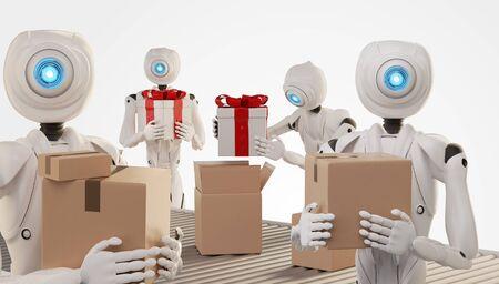 autonomous robot packs presents in boxes 3d-illustration Foto de archivo - 129780125