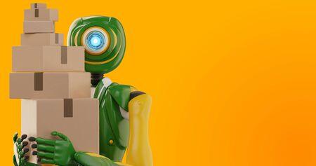 autonomous delivery robot shipping parcels 3d-illustration Banque d'images