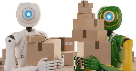 autonomous delivery robot shipping parcels 3d-illustration Foto de archivo - 129780128