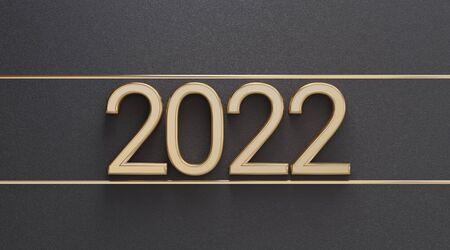 2022 golden bold letters backdrop 3d-illustration Imagens