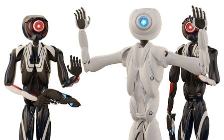 Arrest by autonomous robotic police 3d-illustration