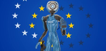 Europe flag with police officer robot raises the left hand and reaches for the weapon 3d-illustration