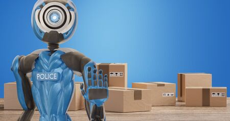 police officer robot in front of carton packages for delivery 3d-illustration