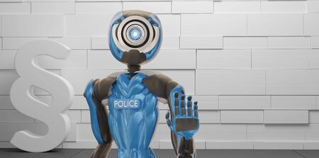 police officer robot and paragraph symbol 3d-illustration 写真素材