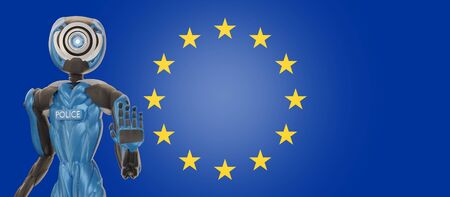 flag of Europe with police officer robot 3d-illustration