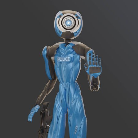 police officer robot raises the left hand and reaches for the weapon 3d-illustration 写真素材