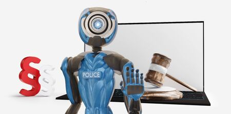 police officer front of paragraph and computer 3d-illustration