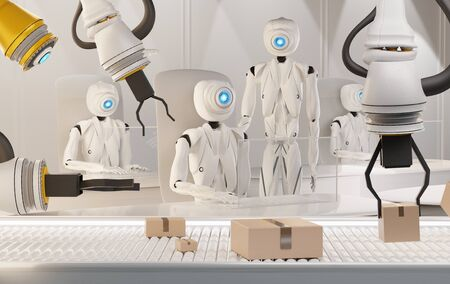 3d rendering humanoid robots working and parcels on conveyor belt 3d-illustration