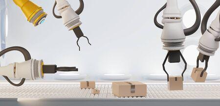 autonomous robot arms with boxes and conveyor belt 3d-illustration