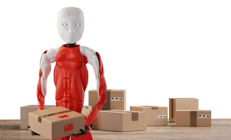 chinese robot holding postal packages 3d-illustration