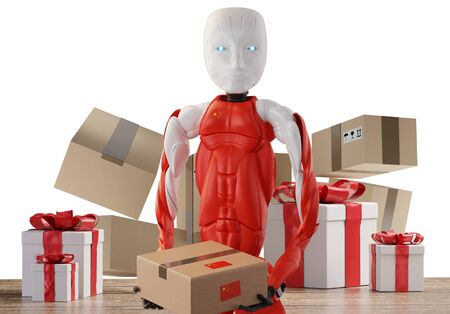 Chinese design Robot with Christmas presents and shipping packages 3d-illustration 版權商用圖片