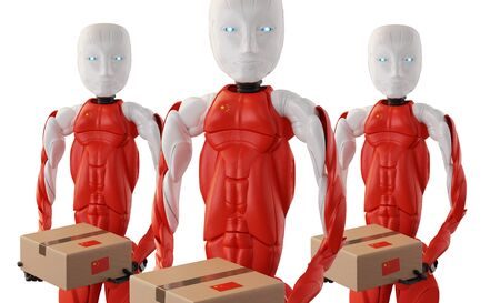 package delivery from chinese robots 3d-illustration