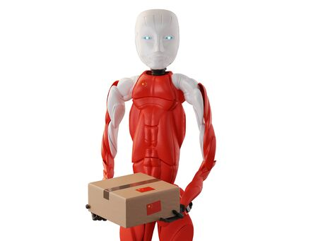 package delivery from a chinese robot 3d-illustration