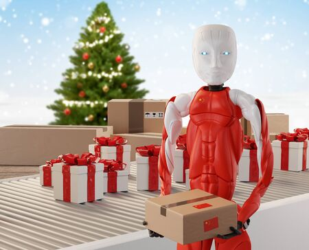 Chinese robot at production and logistics, Christmas gifts and boxes 3d-illustration 版權商用圖片