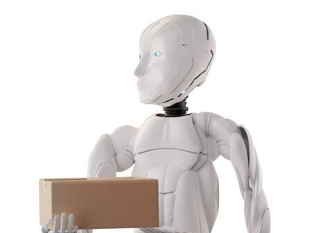 robot humanoid with package 3d-illustration
