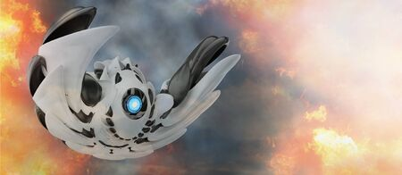 unidentified flying object. technology and blue eye and wings with undefined form 3d-illustration