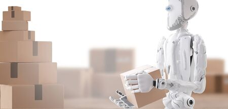 robot with package, artificial intelligence 3d illustration Stock fotó
