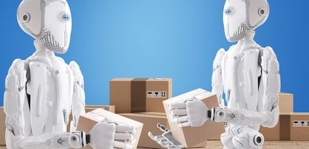 robots with package, artificial intelligence 3d illustration