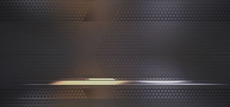 fond créatif pentagone noir argent doré illustration 3d Banque d'images
