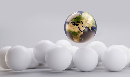 earth and pile of white balls 3d-illustration background
