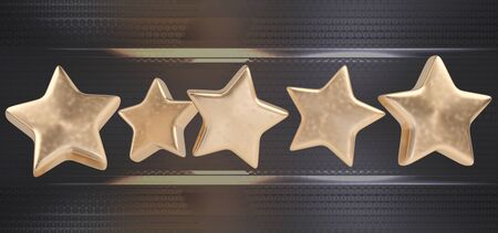Star Rating zero up to five 3d-illustration