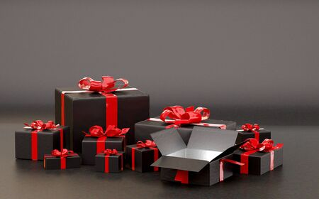 dark festive presents 3d-illustration wrapped packages Stock Photo