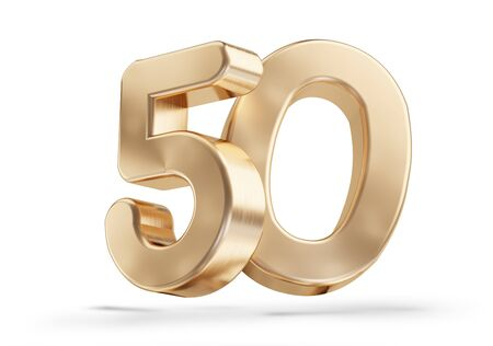 50 golden 3d-illustration isolated on white