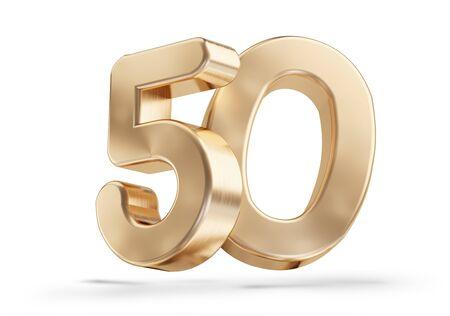 50 gouden 3d-illustratie op wit wordt geïsoleerd