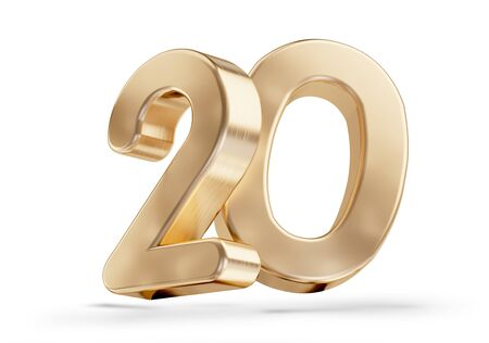 20 golden 3d-illustration isolated on white Imagens
