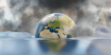 melted ice and sea level rise. planet earth under water 3d-illustration.