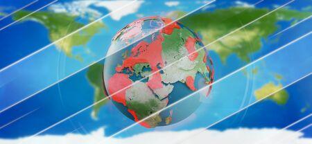 red zones on planet earth 3d-illustration. Archivio Fotografico
