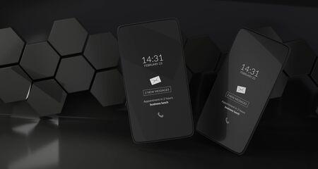 hexagonal design dark mode mobile phone 3d-illustration