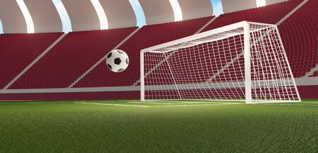 colors of Qatar. soccer football ball and soccer goal and soccer stadium seats 3d-illustration