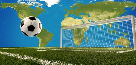 soccer football ball goal 3d-illustration. elements of this image furnished