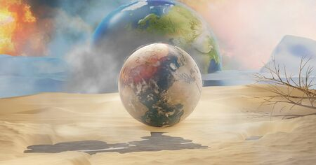 desert planet earth melted ice and fire 3d-illustration. elements of this image furnished