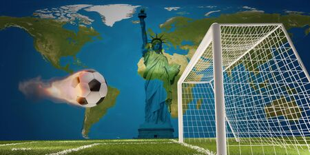 Statue of Liberty with fire flame soccer ball and soccer goal
