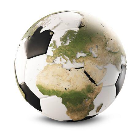 soccer ball world map globe isolated 3d-illustration. Imagens